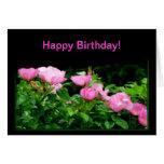 Rastro Cumpleaños-Negro feliz del rosa Felicitación