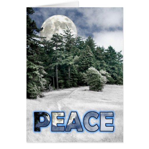 Rastro de la luna de la paz a las maderas felicitaciones
