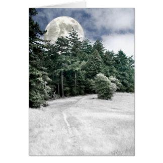Rastro de la Luna Llena del solsticio a las madera Felicitaciones
