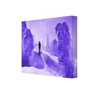 Rastro de la nieve del esquí del vintage en el bos impresión en lienzo estirada
