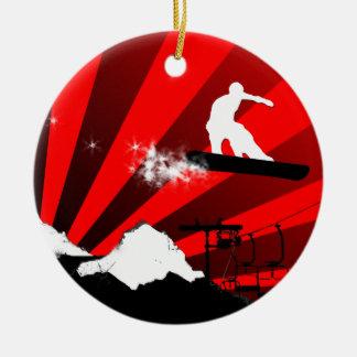 rastro de la snowboard adorno redondo de cerámica
