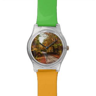 Rastro de madera con el follaje de otoño relojes de mano
