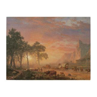 Rastro de Oregon por Bierstadt, paisaje del Impresiones En Madera
