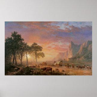 Rastro de Oregon por Bierstadt, paisaje del Póster