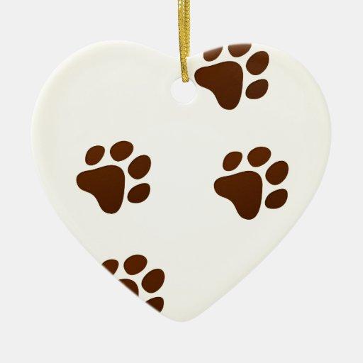 Rastro del dibujo animado de la fauna adorno de cerámica en forma de corazón