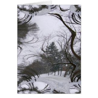 Rastro del fractal de los árboles de Snowscene Tarjetas