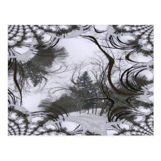 Rastro del fractal de los árboles de Snowscene Tarjetas Postales