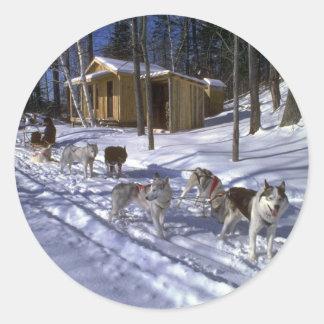 Rastro del perro, Quebec Pegatina Redonda