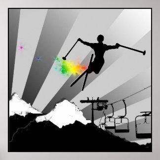 rastro del polvo del esquí póster
