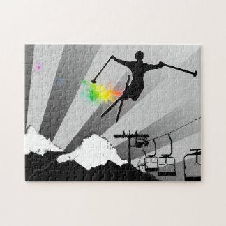rastro del polvo del esquí puzzle con fotos