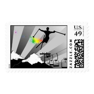 rastro del polvo del esquí sellos postales