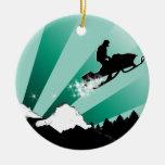 rastro del snowmobile adorno navideño redondo de cerámica
