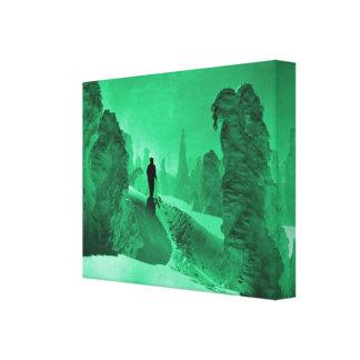Rastro en el bosque, jade de la nieve del esquí de impresiones de lienzo
