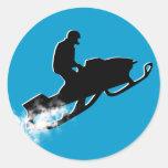 rastro snowmobiling del polvo pegatina