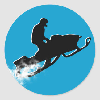 rastro snowmobiling del polvo pegatina redonda