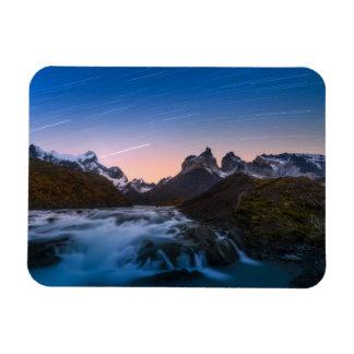 Rastros de la estrella sobre Torres Del Paine Iman Rectangular
