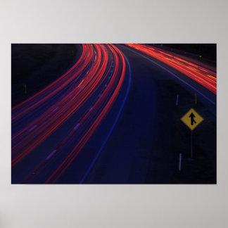 Rastros de la luz de la cola del tráfico de póster
