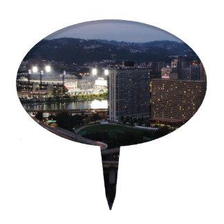 Rastros de la luz de Pittsburgh Figura De Tarta