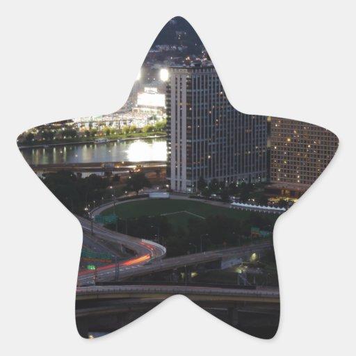 Rastros de la luz de Pittsburgh Colcomanias Forma De Estrella