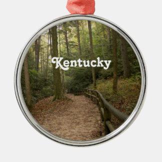 Rastros del caballo de Kentucky Adorno Navideño Redondo De Metal