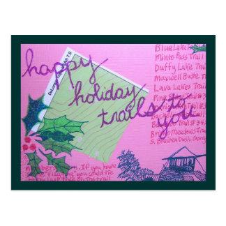 Rastros felices del día de fiesta tarjetas postales