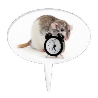 Rat and alarm clock. cake topper