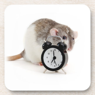 Rat and alarm clock. coaster