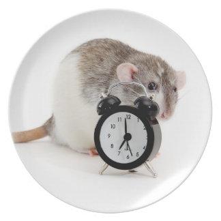 Rat and alarm clock. dinner plate