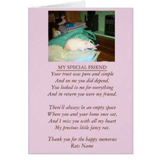 Rat and pet sympathy original poem card