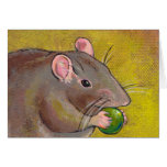 Rat art - fun original painting - cute pet rodent card