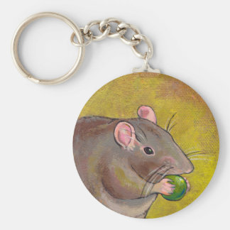 Rat art - fun original painting - cute pet rodent basic round button keychain
