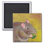 Rat art - fun original painting - cute pet rodent refrigerator magnet