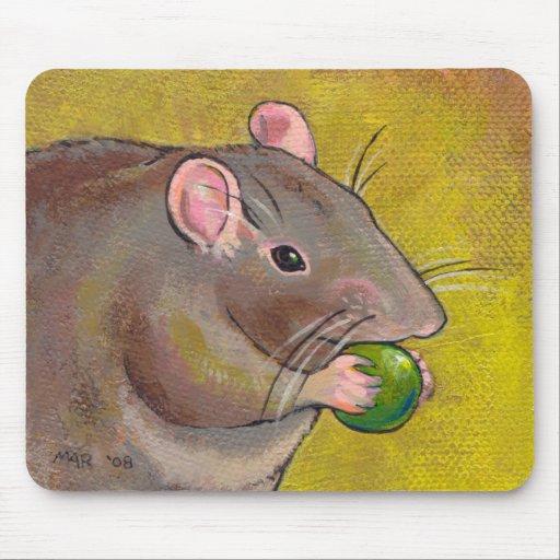 Rat art - fun original painting - cute pet rodent mouse pads