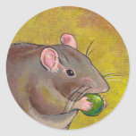 Rat art - fun original painting - cute pet rodent sticker