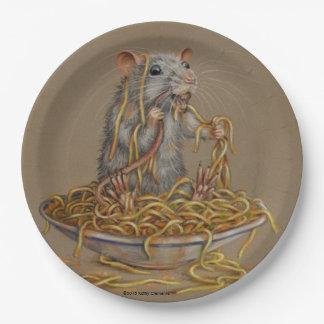 Rat bowl of spaghetti KMCoriginals paper plate