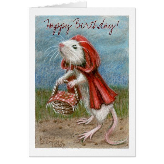 Rat Cape and Basket, Happy Birthday! Note Card