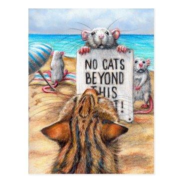 Beach Themed Rat Cat Beach 'No Cats' Sign Postcard