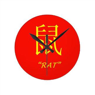 """Rat"" Chinese astrology sign Round Wallclock"
