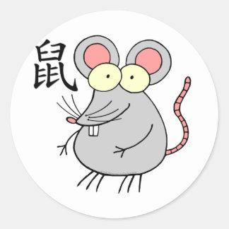 Rat Chinese Zodiac Round Stickers