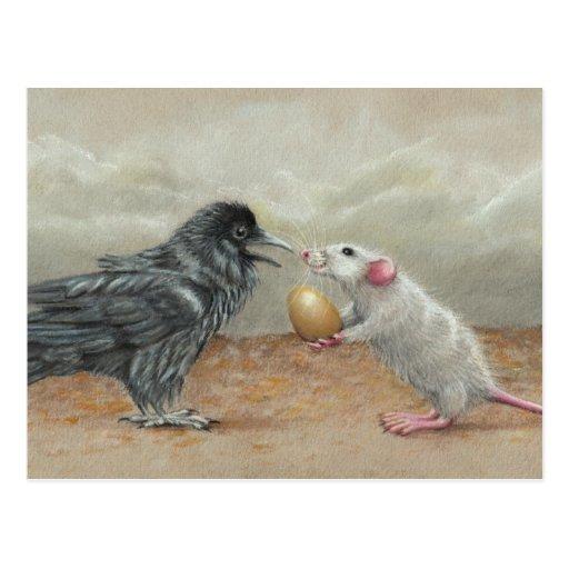 Rat feeding raven egg postcard