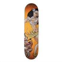 Rat Fink plays for Hula Girl Skateboard Deck