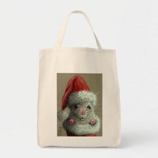 Rat in a Santa Hat Christmas tote bag