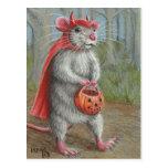 Rat in Devil Costume Halloween postcard