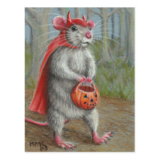 Rat in Devil Costume Halloween postcard