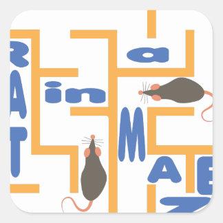 Rat In Maze Square Sticker