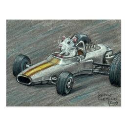 Rat in Race Car Postcard