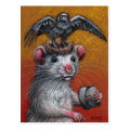 Rat in Raven Hat Postcard