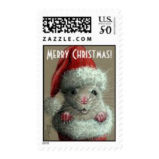 Rat in Santa Hat Postage Stamp
