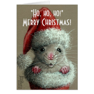 Rat in Santa Hat Stocking Christmas Card