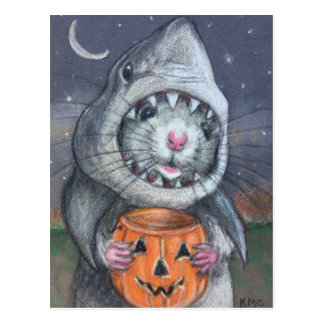 Rat in Shark Costume Halloween kmcoriginals Postcard